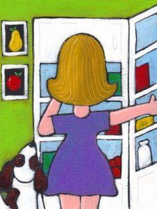 girl standing in fridge